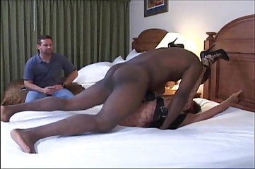 wife in slave lingerie gets rough missionary on bed while cuckold husband watches