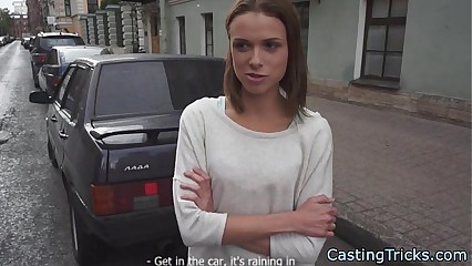 Cute amateur fucked in missionary at casting