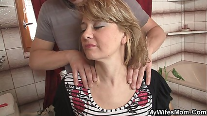 Wife comes out and he bangs her hot mom