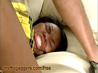 Black Babe Candice Nicole Split Open By White Dicks