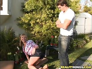 Adrianna Nicole gets pummeled in her garden