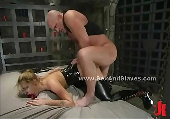 Sex slave spanked by sado maso master
