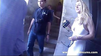 Flashing nude under my transparent dress in Pisa