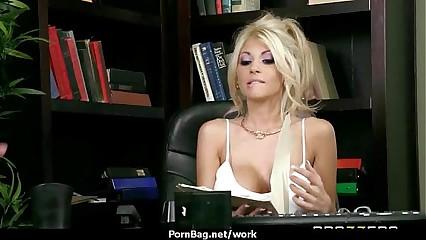 Horny Big-tit MILF fucks employee's big-dick in the office 9