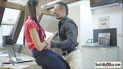 Secretary Kitty Jane works and fucks from home