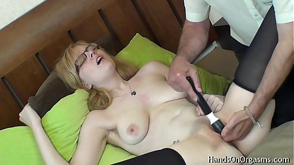 Horny Blonde Jessica-Lo Gets Help Masturbating to Orgasm
