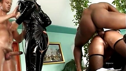 Rocco Siffredi fetish orgy in latex