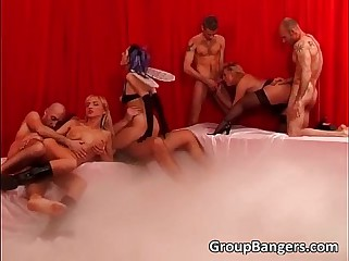 Extreme gangbang orgy with lots of cock