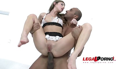 Petite nympho Gina Gerson gets interracial BBC double penetration