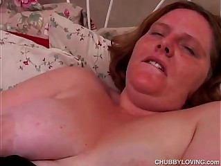 Sexy BBW amateur in fishnet stockings