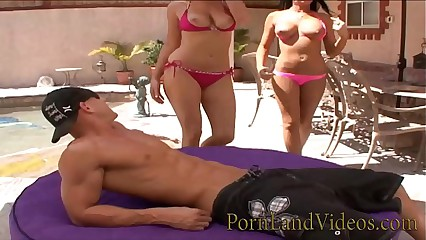 pool threesome with 2 horny big tits blondes