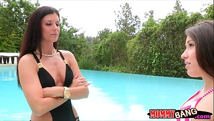India Summer and Lola Foxx hot threeway near the pool