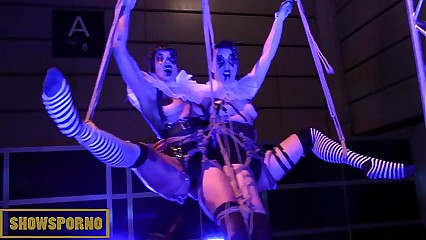 Brunette pornstars shibari clown