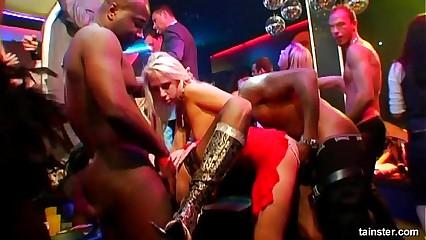 Slutty pornstars fucking hard at casino party