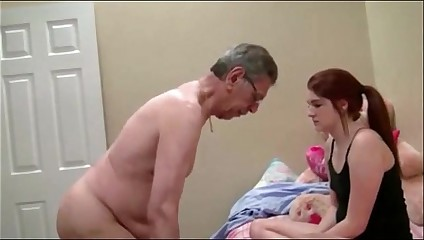 Granpa throatfucks hija on 18th birthday