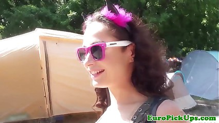Pulled euro party babe loves public park sex