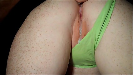 Redhead in green thong doggystyle and cum on pussy