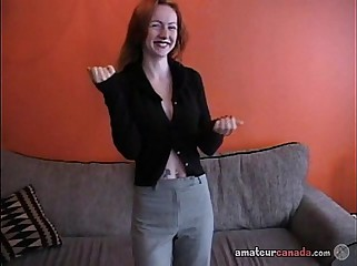 Redhead fingers pierced pussy in cheap apartment