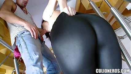 Tall Redhead gets on Her knees to Suck Cock