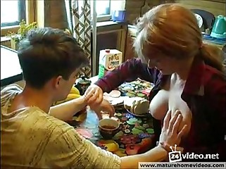 Russian Redhead Mom Seduce Her Son