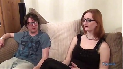 Redhead getting banged by a nerd