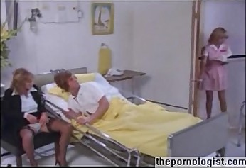 Vintage porn threesome with anal in hospital room