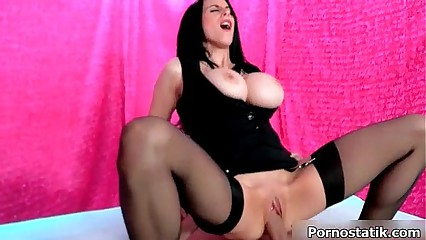 Busty brunette babe goes crazy riding
