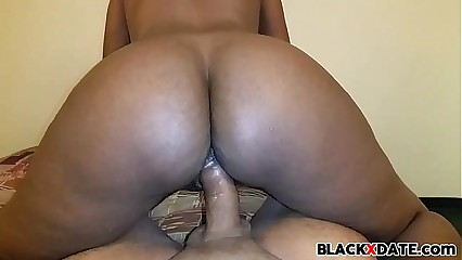 Big bouncing black booty riding