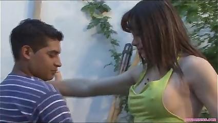 Sensual shemale fucking her gardener