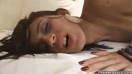 Brunette shemale babe gets fucked hard anally