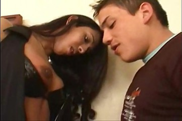 Amateur shemale and guy sex on a table