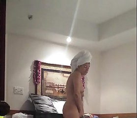 His hot exposed wife getting dressed.