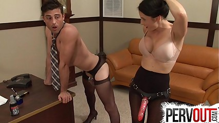 naughty secretary pegs her boss