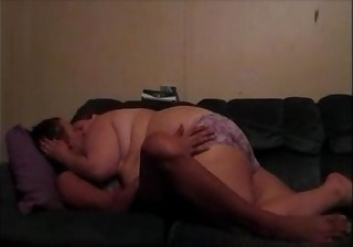 Hot Sissy In Bikini Making Out With Wife On Couch Kissing