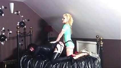 Latex sissy slut panked and strapon fucked
