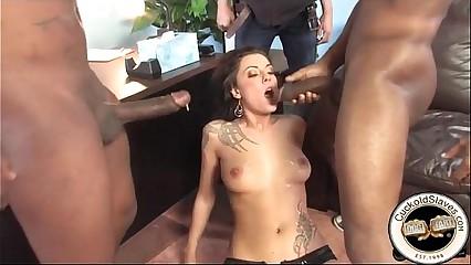 Cuckold cumeating sissy loves black cum