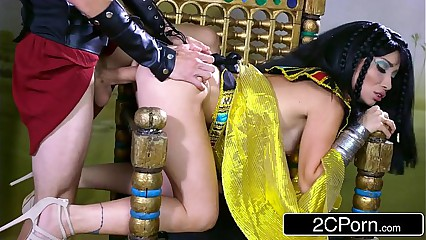 Exotic Egyptian Goddess Rina Ellis Commanding Her Servant to Fulfill Her Desires