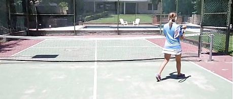 Girl fuck on tennis court with sexy tennis skirt