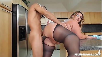 Big Booty Latina BBW Wears Stocking and Fucks in Kitchen