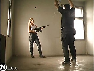 uniform army leatherpants lethal  girl ballbusting