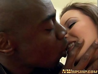 hot teen girl enjoys big black cock in her mouth and pussy