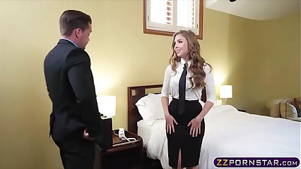 Sex hungry blonde air hostess offers her tight ass