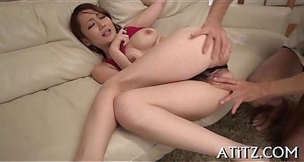 Wet oral sex stimulation from busty japanese