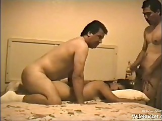 Wife Bucket Latin wife has a threesome in bed