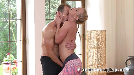 Yoga teacher bangs hot blonde babe at the gym
