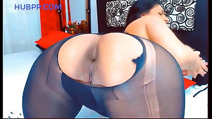 amazing latina pantyhose fetish, anal sex with dildo and pee on feet with black nylons, good and obe