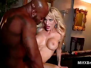 Slim blonde mom licks balls, chokes and gags on big black dick
