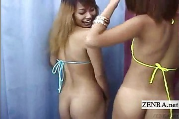 Subtitled Japan bikini gyaru double blowjob uncensored