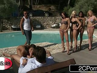 French BJ Roulette Bibi Noel, Blanche, Katia De Lys, Sharon Lee & Shannya Tweeks