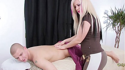 Buxom Blonde MILF masseuse Jumps On Clients Cock